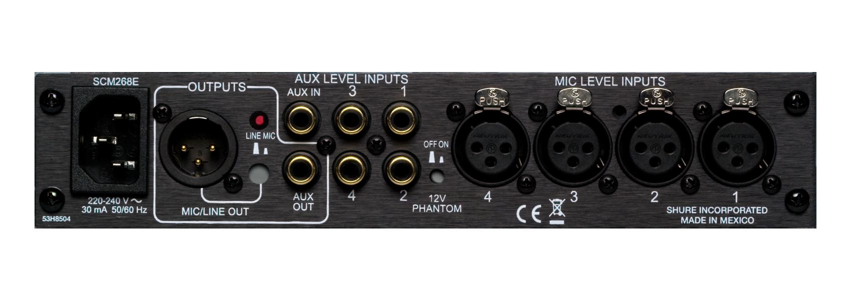 Ilustración Shure SCM268 Mezclador de micrófonos 4 canales