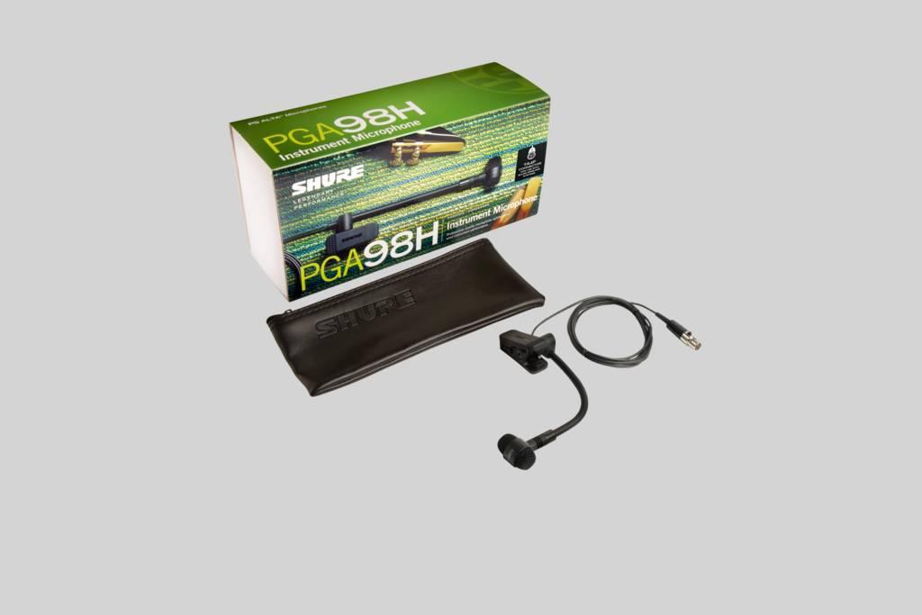 Ilustración Shure PGA98H-TQG Micrófono de condensador cardioide con pinza para instrumento