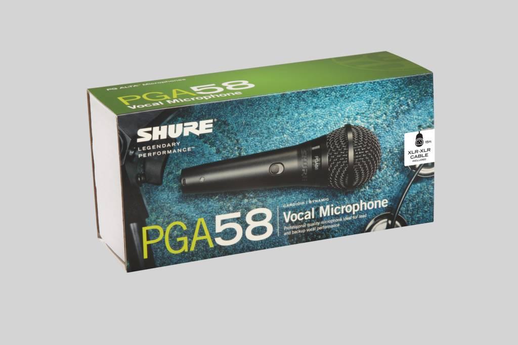 Ilustración Shure PGA58 Micrófono vocal dinámico cardioide