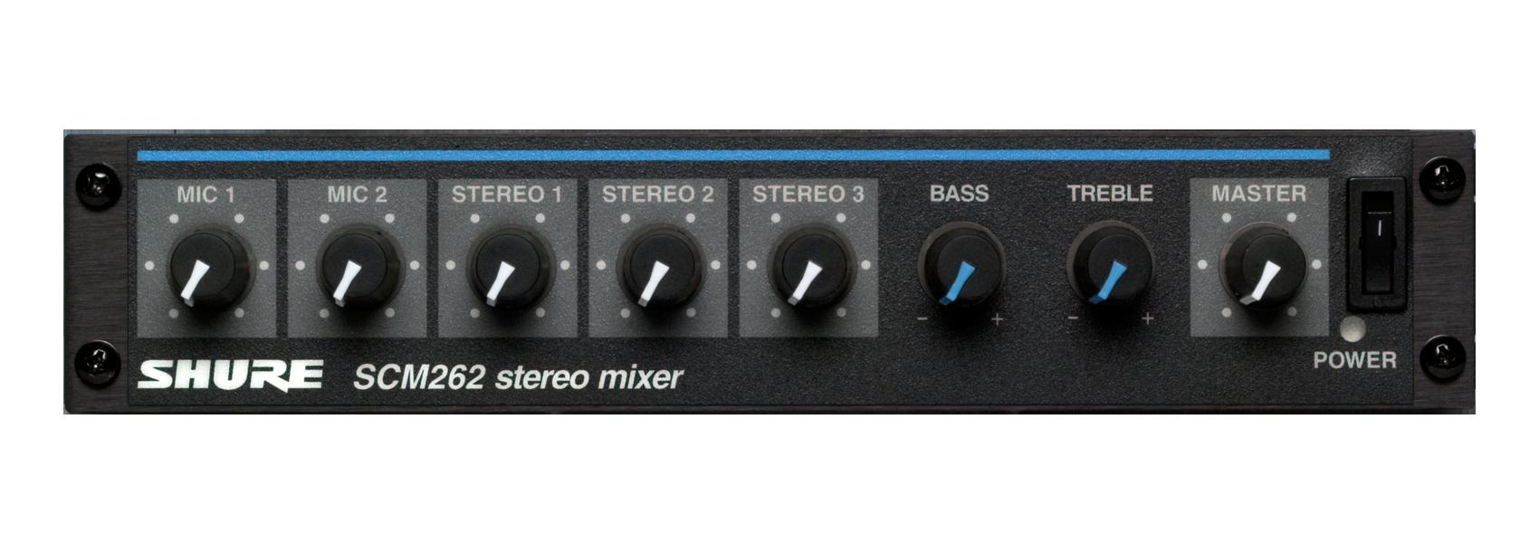 Ilustración Shure SCM262 Mezclador de micrófonos estéreo