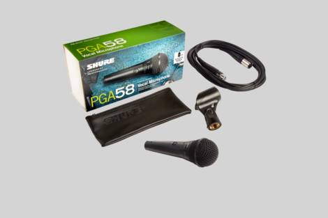 Ilustración Shure PGA58 with XLR to XLR cable